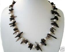 de Diseño Cuarzo Ahumado Collar con perlas de Agua Dulce