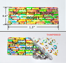 "1,000 SECURITY LABELS SEAL SILVER HOLOGRAM TAMPER EVIDENT 1.5""X 0.6"" PRINTED PS3"