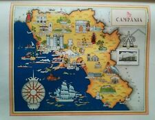 '50 vecchia cartina CAMPANIA PAESTUM PORTICI NAPOLI AVELLINO CAPRI AMALFI POMPEI