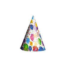 CAPPELLINI  HAPPY BALLONS PER COMPLEANNO IN CARTONCINO CF.6 PEZZI FESTE E PARTY