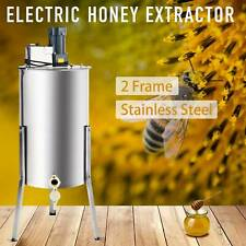 2-Frame Electric Honey Extractor Centrifuge Equipment Drum w/ Adjustable Stands