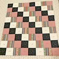 """Handmade Patchwork Lap Quilt 39"""" By 44"""" Pink Black White Squares Hand tied EUC"""