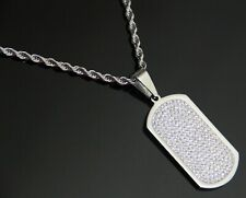 "Men Stainless Steel Silver DOG TAG CZ Pendant 24"" Smooth Rope Chain Necklace HOT"