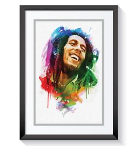 Bob Marley Framed Picture Print Pop Reggae Music Retro Abstract Wall Art A3 A4 #