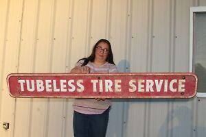 "Large Vintage 1960's Firestone Tubeless Tire Service Gas Station 65"" Metal Sign"