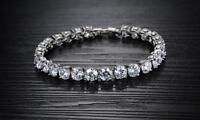 18K White gold GF 32 Stones Prong lab Diamond Tennis Soild bracelet 19cm