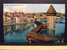 Luzern Kapellbrucke mit Wasserturm Switzerland Tower Vtg Postcard Posted 1958