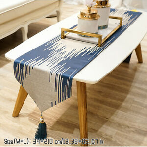Luxury Table Runners with Tassel Polyester Tablecloth Bed Flag for Party Decor