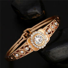 Wholesale Fashion 18k Gold Plated Crystal Rhinestone Bangle Cuff Bracelet Gifts