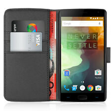 Orzly Leather Wallet Flip Case / Card Holder for OnePlus 2 / Two / +2 - Black