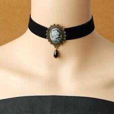 Victorian Collar Gothic Necklace Pendant Head Cameo Drop Lady Choker Bead Ribbon