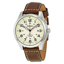 Seiko Kinetic Cream Enamel Dial Brown Leather Mens Watch SKA723