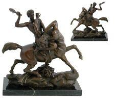 figurine bronze, sculpture Thesée sur plaque de marbre vintage signé Barye 3,1