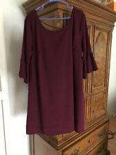 Women Ladies Deep Purple Dress with Sleeves Size 2x.