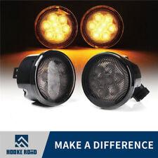 Pair Clerar  Front Turn Signal Lights For Jeep Wrangler 07-17 Amber LED Lens