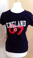 "Inglaterra Deporte Futbol Damas Mujer Top camiseta Azul Marino ""Miss Posh"" BNWT talla 8/10"