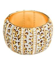Leopard Print Glittery Bangle Bracelet w/Rhinestones. Mary Sol Accessory.