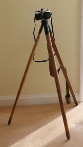 Vintage Mark III wood tripod by P.B+S Ltd 1942 + canvass pack/carry strap