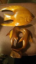 Two Dolphins* Wood Carved Figures* and Flounder Wood Carved Figure