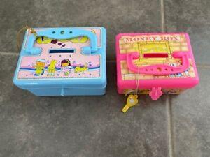 Vintage Plastic Box Coin Money Saving Piggy  Treasure Chest  Flomo Style 1990s