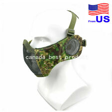 Tactical Airsoft Protective Lower Guard Mesh W/ Ear Cover Half Face Mask Pg Usa
