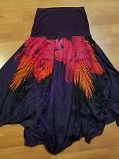 sports women long skirt purple floral design size l