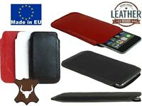 SLIM CREASED GENUINE LEATHER POCKET CASE COVER SLEEVE POUCH FOR MOBILE PHONES