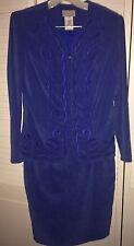 STONEBRIDGE Womans Size 6 Blue 2-Piece Look Long Sleeve Career Suit Dress NEW