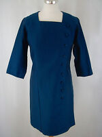 TRUE VINTAGE 1960's PEGGY FRENCH COUTURE Blue Shift Dress - Approx UK 10