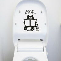 Cute Cat Shh Toilet Wall Stickers Art Vinyl Mural Home Room Decor Removable TDCA