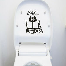 Cute Cat Shh Toilet Wall Stickers Art Vinyl Mural Home Room Decor Removabl qx