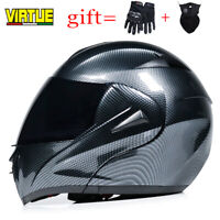 Motorcycle Dual Visor Helmet Modular Flip Up Racing DOT Approved Moto Helmets