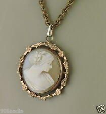 ANTIQUE NECKLACE/PENDANT VICTORIAN BRONZE HAND CARVED CAMEO SHELL PORTRAIT LADY