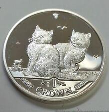 Silver Isle of Mann 999 Coin Cat Crown Pobjoy Mint