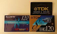 NIP LOT 2 TDK/Sony EHG120 Sound/Color Camcorder VIDEOCASSETTES 120 min 8mm