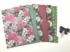 A5 Filofax Planner Dividers x 6 - Plus Sequin Bow Paper Clip - Dark Florals