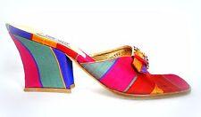 Vtg 80's TIMOTHY HITSMAN Heels Sandals Slides 9 M Silk Striped Muticolor Jewels