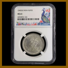 British India 1 Rupee, 1945 (B) Bombay NGC MS 63 King George VI