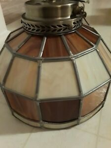Tiffany Style Semi Flush Mount Ceiling Lamp Downward Lighting Dome Brown Cream
