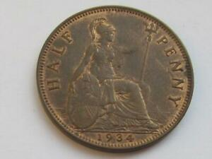George V Half-penny 1934 - Nice collectable coin with some traces of lustre