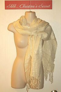IVORY Cream Scarf Shawl Cover Up w/Gold jaquard Fringes Long *VG
