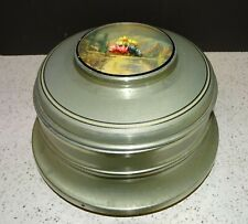Antique Metal/Aluminum Musical Jewelry Box w/Glass Insert & Dome Mountain Scene
