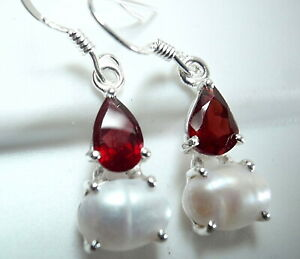 Faceted Garnet Teardrop and Cultured Pearl 925 Sterling Silver Dangle Earrings