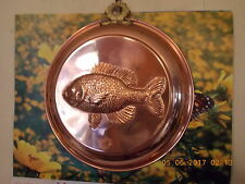 """Copper Round Jello Mold Lined w/Embossed Fish 7 1/2"""""""