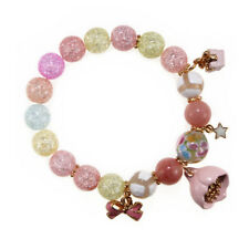 Ice Crack Korean Style Crystal Charm Bracelet with Lotus Pendant