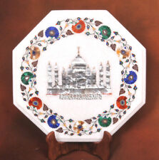 White Marble Small Coffee Table Top Multi Floral Taj Mahal Inlay Art Decor H3729