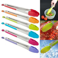 ALS_ Silicone Cooking Salad Stainless Steel Handle Serving BBQ Tongs Kitchen Too