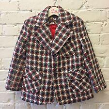 Vintage girl M Tweed Houndstooth Jacket Brown Blazer Korea