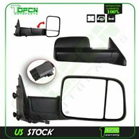 Black Power Heated Towing For Dodge Ram 1500 2500 3500 Tow Side Mirrors Pair Set
