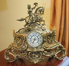 VINTAGE FIGURAL ART BRASS MANTLE CLOCK HORSE BIRD MUSIC VIOLIN ROMAN NUMERAL 13""